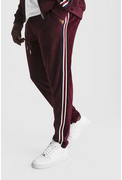 Mens Burgundy Big & Tall Velour Joggers With Side Tape