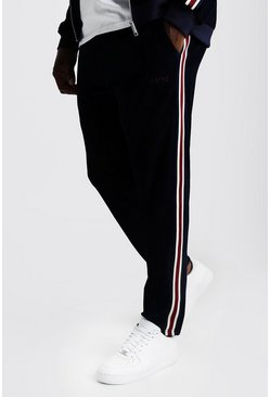 Mens Navy Big & Tall Velour Joggers With Side Tape