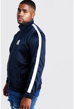 Mens Navy Big & Tall Tricot Jacket With Side Tape