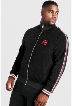 Mens Black Big & Tall Velour Jacket With Side Tape