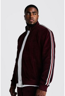 Mens Burgundy Big & Tall Velour Jacket With Side Tape