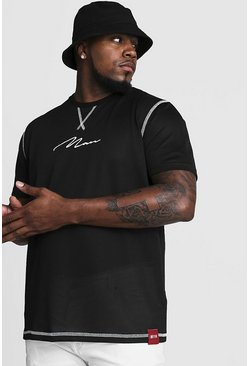 Mens Black Big & Tall Airtex T-Shirt With MAN Embroidery