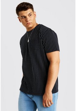 T-shirt à rayures fines Grandes Tailles, Marine, Homme