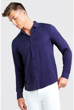 Mens Navy Jacquard Palm Long Sleeve Shirt