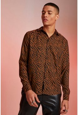 Mens Brown Jacquard Animal Long Sleeve Shirt