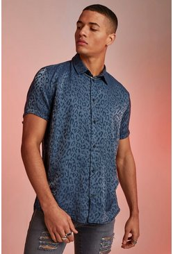 Mens Teal Metallic Jacquard Animal Short Sleeve Shirt