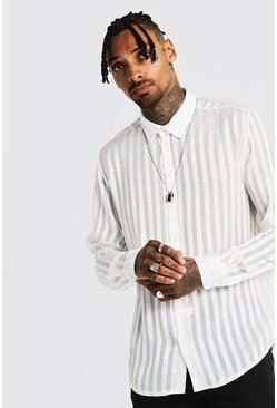 Mens White Semi Sheer Vertical Stripe Long Sleeve Shirt