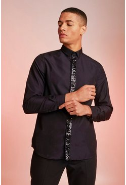 Mens Black Smart Long Sleeve Shirt With Sequin Placket