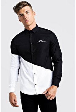 Mens Black MAN Colour Block Long Sleeve Smart Shirt