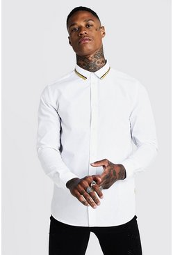 Mens White MAN Long Sleeve Smart Shirt With Gold Tipping