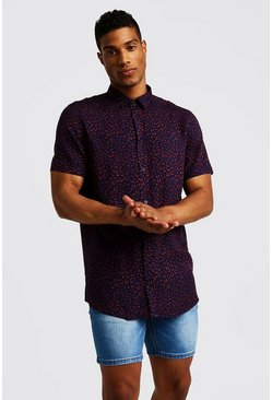 Mens Navy Animal Print Short Sleeve Shirt
