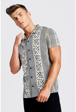 Mens Brown Multi Jacquard Short Sleeve Revere Shirt