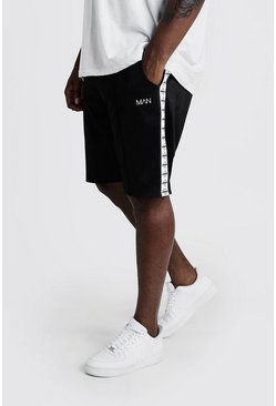 Mens Black Big & Tall Tricot Shorts With MAN Tape