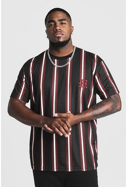Mens Black Big & Tall Stripe T-Shirt With M Embroidery