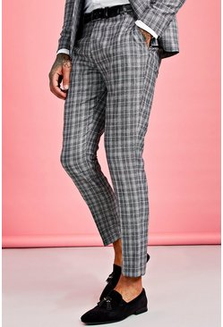 Mens Grey Jaspe Skinny Fit Check Suit Trouser