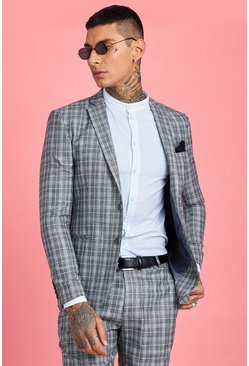 Grey Skinny Fit Jaspe Check Suit Jacket