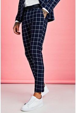 Mens Navy Large Scale Windowpane Check Suit Trouser