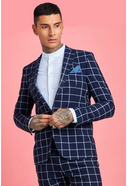 Mens Navy Large Scale Windowpane Check Skinny Suit Jacket