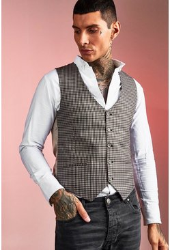 Brown Skinny Fit Heritage Gingham Vest