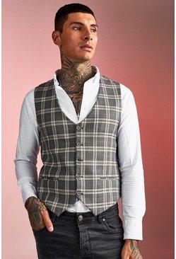 Brown Skinny Fit Heritage Check Vest