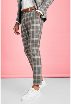 Brown Heritage Check Skinny Fit Suit Pants