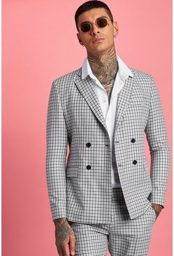 Mens Black Gingham Double Breasted Suit Jacket
