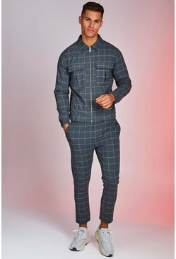 Mens Grey Windowpane Check Smart Twinset