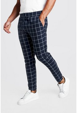 Mens Navy Large Windowpane Check Smart Jogger