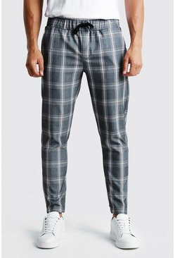 Mens Pink Large Ice Cream Check Smart Jogger Trouser