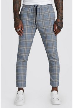 Mens Yellow Check Smart Jogger Cropped Trouser