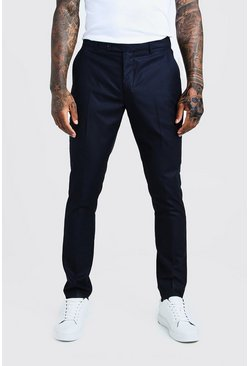 Mens Navy Self Stripe Smart Pleat Front Trouser