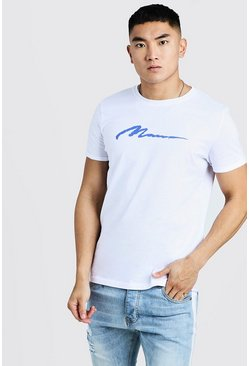 Mens Cobalt MAN Paint Print Rolled Sleeve T-Shirt