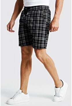 Mens Black Texture Check Smart Mid Length Short