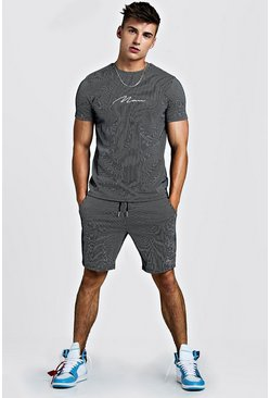 Mens Navy MAN Signature Stripe T-Shirt And Short Set