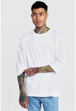 Mens White Basic Loose 3/4 Sleeve Pocket T-Shirt