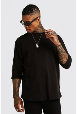 Mens Black Basic Loose 3/4 Sleeve Curved Hem T-Shirt