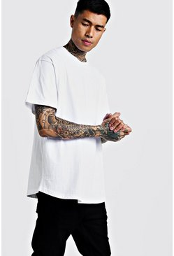 Mens White Basic Loose Fit Curved Hem T-Shirt
