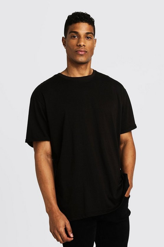 Mens Black Basic Loose Fit Rolled Sleeve T-Shirt