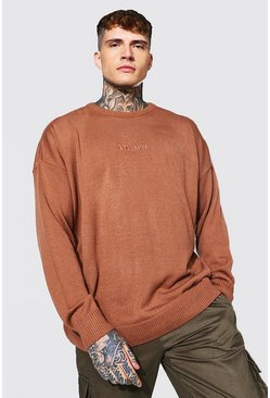 Rust Oversized Ofcl Man Tonal Embroidered Sweater