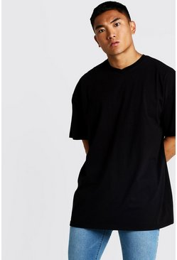 Mens Black Basic Oversized Longline Short V Neck T-Shirt