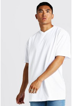 Mens White Basic Oversized Longline Short V Neck T-Shirt
