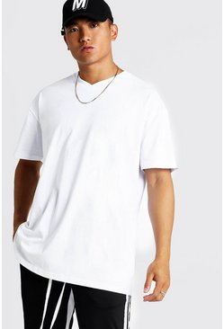 Mens White Basic Oversized Longline V Neck T-Shirt