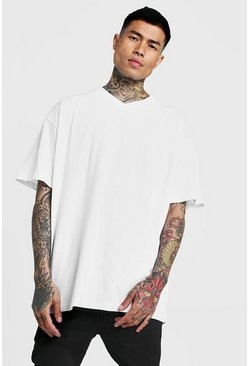 Basic Oversized V Neck T-Shirt, White, HOMMES