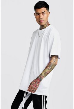 Mens White Basic Oversized Longline Step Hem T-Shirt