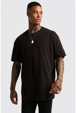 Mens Black Basic Oversized Longline Rolled Sleeve T-Shirt