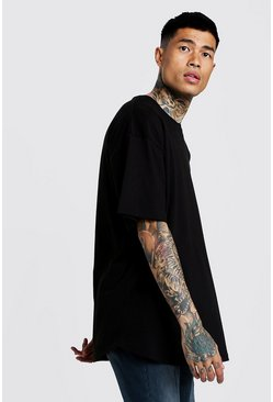 Mens Black Basic Oversized Curved Hem T-Shirt