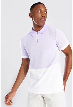 Spliced Knitted Polo, Lilac
