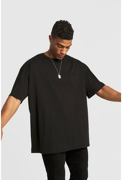 Mens Black Basic Oversized Rolled Sleeve T-Shirt