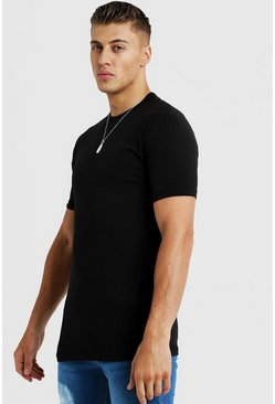 Mens Black Basic Muscle Fit Longline Raglan T-Shirt