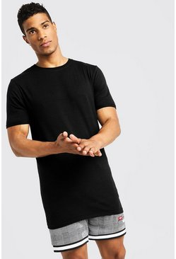 Basic Muscle Longline Rolled Sleeve T-Shirt, Black, HOMMES